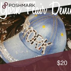 New York Rhinestone Studded Denim Fashion Jean Cap NewYork Style 1822 Denim Accessories Hats
