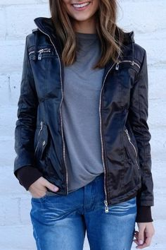 491fa25735274 Chic Hooded Solid Color Detachable Sleeve Faux Leather Jacket For  Women