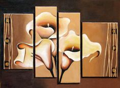 Original Abstract Oil Painting on Canvas by ArtonlineGallery, I love the Calla Lillies :) Multi Canvas Painting, Oil Painting Abstract, Canvas Wall Art, Canvas Paintings, Calla Lillies, Calla Lily, Flower Paintings, Painting Flowers, Art Pictures