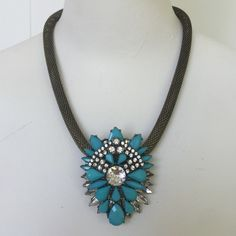"""ANTHROPOLOGIE Mayura Necklace turquoise ANTHROPOLOGIE MAYURA NECKLACE COLOR:TURQUOISE  *LOBSTER CLASP *ACRYLIC, GLASS, METAL *19""""L *2"""" PENDANT Anthropologie Accessories"""
