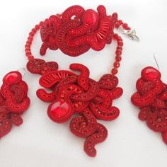 Soutache Parure Red Passion Soutache Jewelry, Crochet Necklace, Passion, Jewels, Jewellery, Red, Handmade, Hand Made, Jewerly