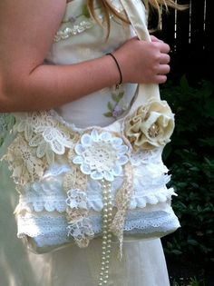 images of shabby chic purses | Shabby Chic Cream Ecru Vintage Lace Purse Bag…