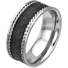 Size 12 -inox Jewelry Men's Stainless Steel Black Ip Braided Steel Checker Pattern Ring