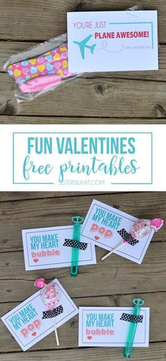 Bubbles, Blow Pop and Airplane Valentines - Free Printables - Sisters, What!