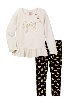Metallic Ribbed Top & Scottie Dog Printed Pant Set (Little Girls) by Juicy Couture on Juicy Couture Baby, Ribbed Top, Scottie Dog, Mom Style, Little Girls, Clothing Sets, Girl Clothing, Kids Fashion, Girl Outfits