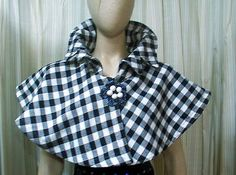 4753 Austen Victorian Steampunk Civil black white plaid capelet  cape wrap