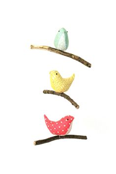 Bird Hanging Mobile - Baby Nursery Decor - 3 Handmade Birds in Teal, Yellow and Pink Cotton Fabrics Teal Yellow, Pink, Baby Nursery Decor, Nursery Ideas, Old Country Houses, Shades Of Teal, Hanging Mobile, Complimentary Colors, Little Birds