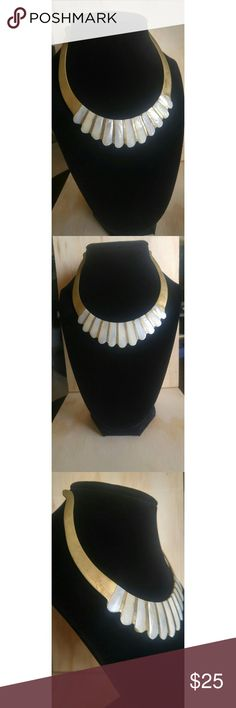 """Seashell Necklace/Tiara This piece is so beautiful, it really shines in the light! I think it would look beautiful placed in curls or braids as a tiara, but it's equally pretty as a collar necklace. It is small, measuring about 5"""" across at its widest. Jewelry Necklaces"""