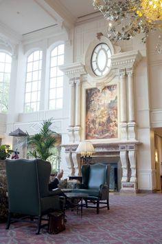 #Disneyland #Paris. The lobby of the Disneyland #Hotel with a fireplace #DLRP #DLP #Disney #DisneylandParis #DLH