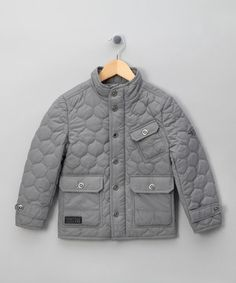 Firetrap Grey Woven Quilted Jacket - Boys