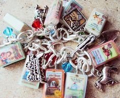 Little House on the Prairie Books charm bracelet by sophiesbeads - all polymer clay books!!
