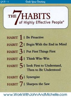 The 7 Habits of Highly Effective People…. I still keep this in my day planner!