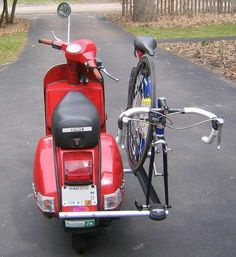 Vespa with bike rack.
