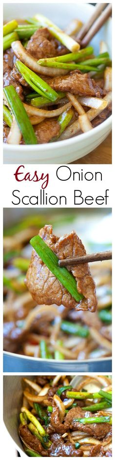 Onion scallion beef – tender juicy beef stir-fry with onions and scallions in Chinese brown sauce. Delicious, easy & takes only 20 mins | rasamalaysia.com