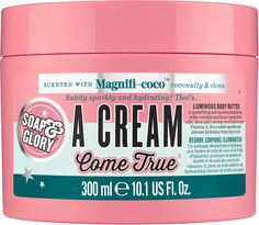 Magnificoco A Cream Come True Body Butter by Soap & Glory is a luxuriously rich body butter to help give your skin deep moisturisation! Contains coconut butter. Body Butter, Shea Butter, Beauty And Beast Wedding, Benzoic Acid, Body Love, Vitamins, Natural Hair Styles, Moisturizer, Luminizer