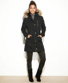 RACHEL Rachel Roy Coat, Hooded Faux-Fur-Trim Anorak on shopstyle.com