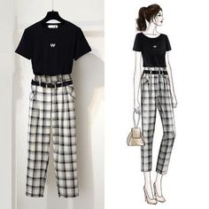 Round Neck T-shirt + Check Pattern Sash Belted Tapered Pants Girls Fashion Clothes, Teen Fashion Outfits, Mode Outfits, Classy Outfits, Cute Fashion, Pretty Outfits, Fashion Drawing Dresses, Fashion Illustration Dresses, Fashion Dresses