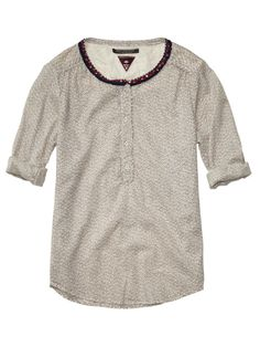 Cute Tunic Top With Beaded And Fringed Neckline