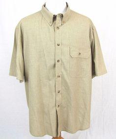 Tilley Endurables Sport Shirt 3XL Coolmax Gold Plaid Checkered Cargo Pocket XXXL #TilleyEndurables #ButtonFront