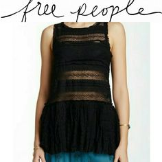 "NWT Free People Black Lace Tank - Scoop neck - Sleeveless - Pleated lower - Partially sheer - Allover lace - Approx. 28"" length - Imported Fiber Content: 50% nylon, 45% cotton, 5% spandex  Wear with a bra or for a more covered look with a cami! Free People Tops Tank Tops"