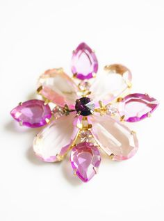 Large Vintage Crystal Flower Brooch Pin by PuddinRidgeCreations