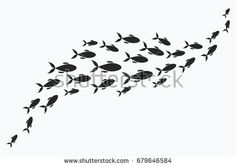 Silhouettes of groups of sea fishes. Colony of small fish. Fish Silhouette, Silhouette Painting, Fish Stencil, Ocean Drawing, Sea Logo, Deco Marine, Sea Life Art, Ocean Wallpaper, Fish Illustration