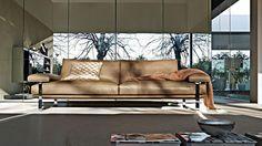 Molteni | a #brownleathersofa for a sleek living room interior design  | bocadolobo.com | #sofa #sofasideas #modernsofa #livingroom