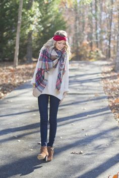 Ankle booties + skinny jeans + sweater + big scarf + knit headband <3