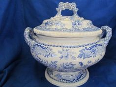 Spode Copeland Soup Tureen Antique Blue and White Jasmine Pattern