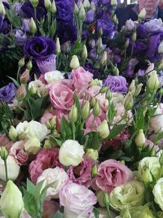 Lisianthus flowers - great wedding flowers, holds up in heat well, looks like a rose and comes in these colours: cream, … (With images) Types Of Flowers, Cut Flowers, Fresh Flowers, Purple Flowers, Spring Flowers, Beautiful Flowers, Purple Daisy, Arrangements Ikebana, Flower Arrangements