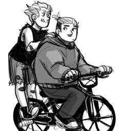 """seidurs: """" yazzdonut: """" seidurs: """" i thought it would be cute if lil roadie had just. a normal bike cause hes Like 5 and junkrat put those lil bars on the back so they could ride around together hah """" but see all those bandaids on jamie? obviously..."""