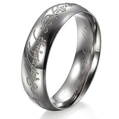 bigsoho Schmuck Edelstahl Ring Herr der Ringe der eine Ring Lord Ring Ringgröße 54 (17.2)