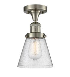 Innovations Lighting Small Cone Brushed Satin Nickel Seven Inch One Light Semi Flush Mount With Seedy Cone Glass 517 Sn Ceiling Fixtures, Ceiling Lights, Semi Flush Lighting, Bronze, Satin, Drum Shade, Chrome Finish, Nickel Finish, One Light