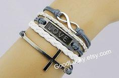 Cross braceletLove braceletinfinity bracelethipsters by goodlucky, $10.99