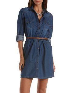 Belted Denim Shirt Dress: Charlotte Russe