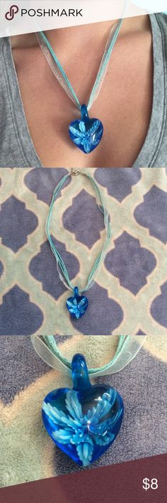 Blue Glass Heart Flower Necklace Blue glass hear pendant with a flower suspended inside, ribbon and cord with an adjustable closure                        ✨make an offer!✨ Jewelry Necklaces