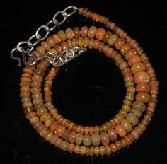 "43 Crts 1 Necklace 3to6mm 16"" Beads Natural Ethiopian Welo Fire  Opal  64913"