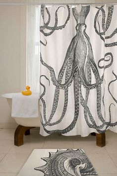 Modern Shower Curtain for Your Modern Bathroom Design: Unique Bathroom Curtain Picture With Octopus Shower Curtain ~ moldse.com Bathroom Inspiration