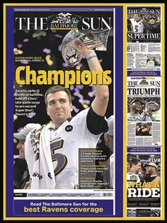Relive the Ravens Super Bowl run with this commemorative 550 piece jigsaw puzzle.  Puzzle captures great moments from the Ravens Championship season as featured on the front pages of the Baltimore Sun.  $15.95