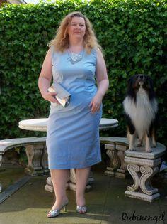 Plus Size Fashion Blog Plus Size Dress Iceblue Chevron sewed by me