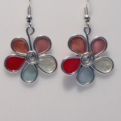 Boucles d'oreille fleur aluminium, bulle de vernis, blanc rose bleu fuchsia