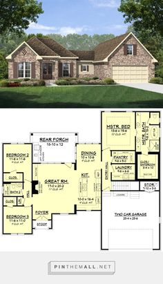 European Style House Plan - 3 Beds 2 Baths 1884 Sq/Ft Plan #430-110 - created via https://pinthemall.net