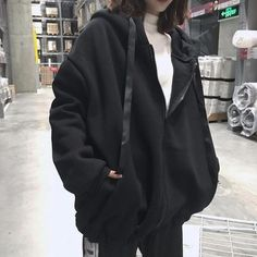 Harajuku Hoodies Women Sweatshirts Oversized Zipper Winter Pullover Sweatshirts Womens Letter Print Kpop Hoody Pullover Moletom in 2020 Edgy Outfits, Korean Outfits, Mode Outfits, Cute Casual Outfits, Fashion Outfits, Punk Fashion, Lolita Fashion, Mode Ulzzang, Hooded Sweatshirts