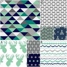 Baby Bedding, Crib Bedding, Mint Teal Charcoal Gray Navy Antlers Deer Triangles Mustache Arrow Nursery