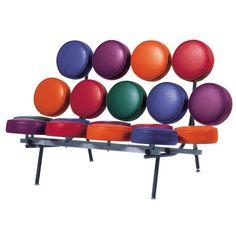 Model: Marshmellow Sofa - Ontwerper: George Nelson - Merk: Vitra - Herkomst: Zwitserland - Materiaal: Aluminium, leer en staal - Prijs: € 5049,-