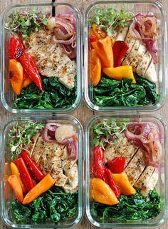 Bowls of roasted sweet pepper clean food Lunch Meal Prep, Meal Prep Bowls, Healthy Meal Prep, Healthy Snacks, Healthy Eating, Healthy Recipes, Paleo Diet Breakfast, Food Crush, Stuffed Sweet Peppers