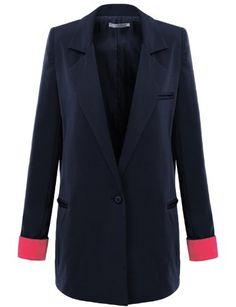 Doublju Womens One Button Blazer Jacket with Color Block Sleeve