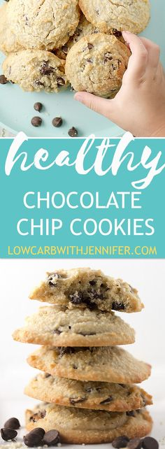 These healthy chocolate chip cookies are low carb (yes even the chocolate chips), gluten free, and absolutely delicious!