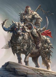 m Half Orc Barbarian Glaive Water Buffalo Mount Barding male Wilderness Cliff Hills Mountain Protector story by Gpzang DeviantArt lg Fantasy Warrior, Orc Warrior, Fantasy Races, Dark Fantasy Art, High Fantasy, Fantasy Artwork, Fantasy Creatures, Mythical Creatures, Fantasy Character Design