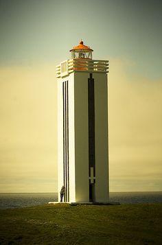 Lighthouse in Kálfshamarsvík, Iceland. Such clean lines!